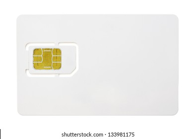 Blank sim card isolated on white background