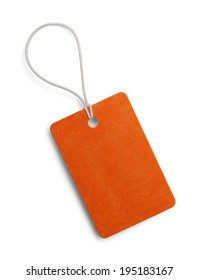 Blank Small Orange Tag Isolated on White Background.