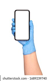 Blank smartphone held in hand in blue protective glove, isolated on white background
