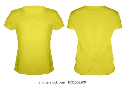 Blank smooth yellow Tshirt front back mockup template