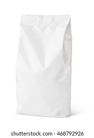 Blank snack paper bag package isolated on white with clipping path