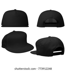 Blank Snap back Hat Caps in Back Perspective View, Back View, Front Perspective, Front View with Black color