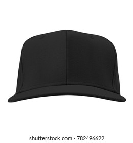 blank snapback baseball hat cap black color on white background for mockup template