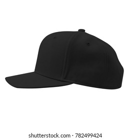blank snapback baseball hat cap black color in left side view on white background for mockup template