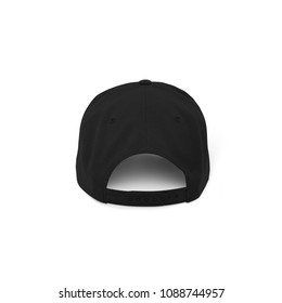 Blank Snapback baseball hat caps in black color with strap in back side view for mockup template on white background isolated