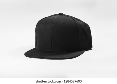 Blank snapback hat cap flat visor with black color isolated on white background. Ready for your mock up design or presentation your design project