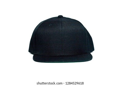 Blank snapback hat cap flat visor with black color on white background isolated, ready for your mock up design or presentation your design project