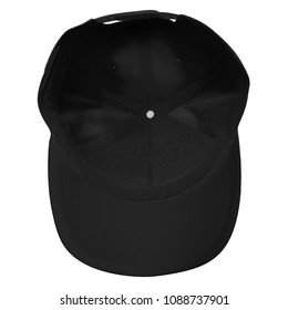 Blank snapback hat cap inside view for mockup template with black color in white background isolated