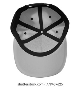 Blank snapback template inside view for mockup with black grey color in white background