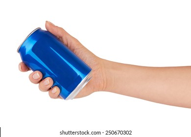 blank soda can isolated on a white background