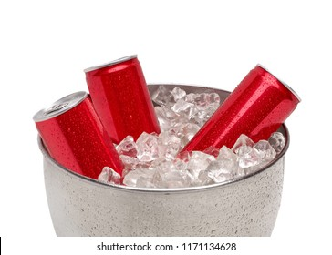 Blank soda or cola cans with water drops on crushed ice cubes and bucket including clipping path.