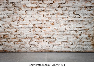 Blank space brick wall and concrete floor