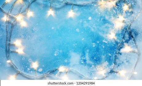 blank space, ice texture and light Christmas decoration for winter season, new year and Christmas concept background