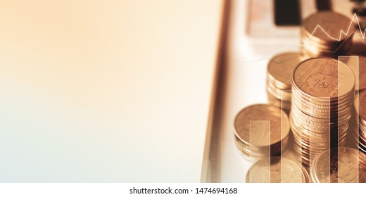 blank space and money coins for success , banking , finance and business concept background