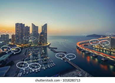 Blank space for text on Busan city and bubble chat for communication. Technology and communication concept