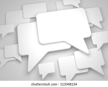 Blank Speech Bubble on Grey Background. Social Media Concept.
