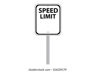 Blank Speed Limit Traffic Road Sign on White