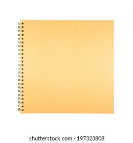 Blank spiral brown cover book paper on white background