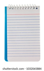 Blank spiral lined notebook isolated on white