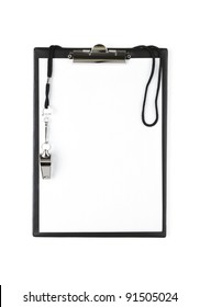 Blank sports clipboard on white background