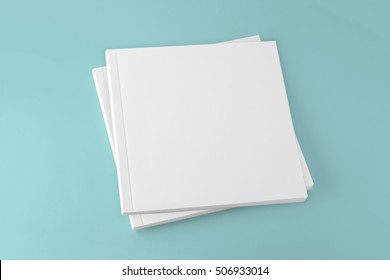 Blank square cover book template on colour background