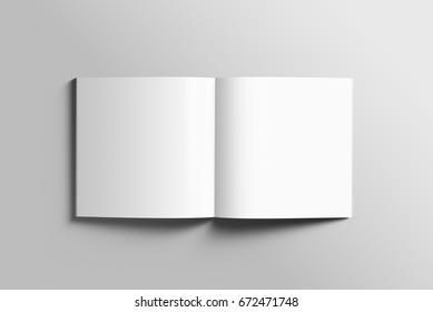 Blank square photorealistic brochure mockup on light grey background, 3d Illustration.