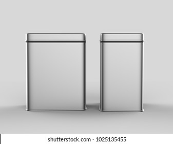Blank square tall tin box food container for packaging design mock up. 3d render illustration.