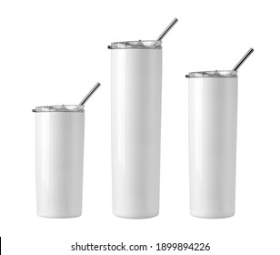 Blank  Stainless Steel Tumblers with Lid  for branding mock up. Isolated on white