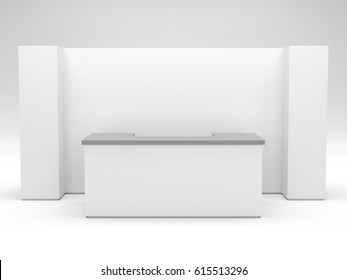Blank stand booth mock-up template. 3D rendering