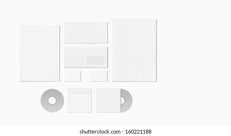 Blank Stationery Corporate ID set isolated on white. Consist of Business cards, A4 letterheads, envelopes,  disk.