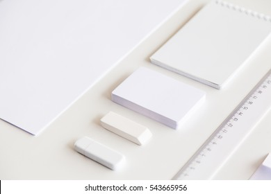 Blank stationery and corporate identity set on white background. Template for design presentations. Branding Mock-Up.