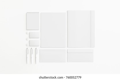 Blank stationery set isolated on white. Branding elements to showcase your presentation. 3d render.