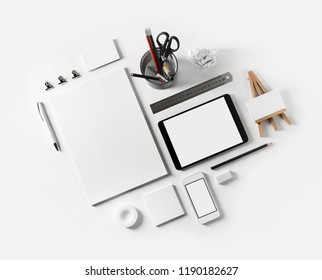 Blank stationery set on white paper background. Corporate identity mockup. Responsive design template.