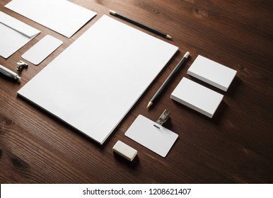 Blank stationery set on wooden background. Template for branding identity. For graphic designers presentations and portfolios.