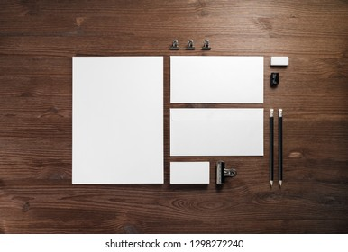 Blank stationery set on wooden background. Template for branding identity. For graphic designers portfolios. Flat lay.