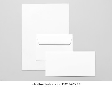 Blank stationery: sheets of paper and two envelopes