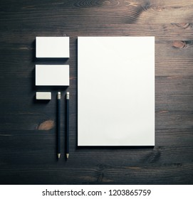 Blank stationery template on wooden background. Mock-up for branding identity. For design presentations and portfolios. Flat lay.