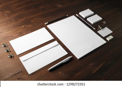 Blank stationery template on wooden background. Mock-up for branding identity. For design presentations and portfolios.