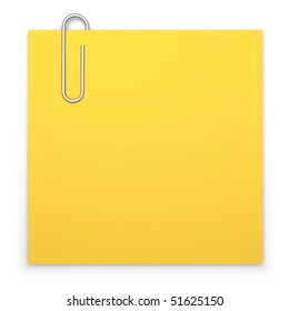 Blank sticky note with paper clip on white background