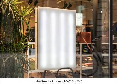 Blank store signage sign design mockup isolated, Clear shop template. Street light box fashion. Signboard for logo presentation. Metal cafe restaurant bar plastic badge black white.