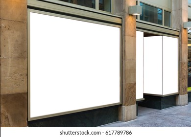 Blank Storefront Copy Space Template Crowded Area Mall Design White