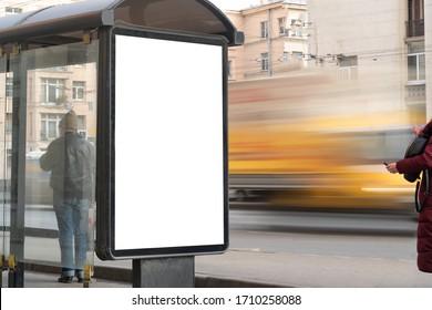 Blank street billboard at the bus stop