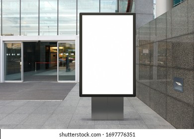 Blank street billboard poster stand mock upnear entace of shopping center in  downtown. 3d illustration.