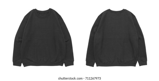 Blank sweatshirt color black template front and back view on white background