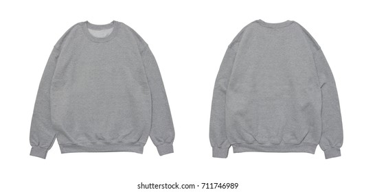 Blank sweatshirt color black template front and grey view on white background