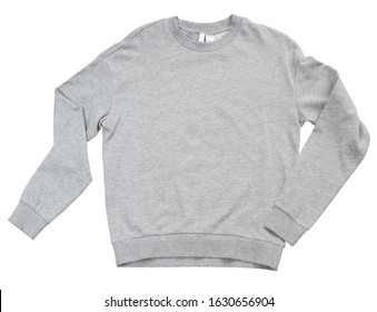 Blank sweatshirt grey color mock up template front view on white background. Gray cotton sweatshirt mockup. Grey empty blank sweat shirt