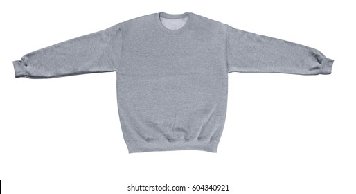 Blank sweatshirt grey color mock up template front view on white background