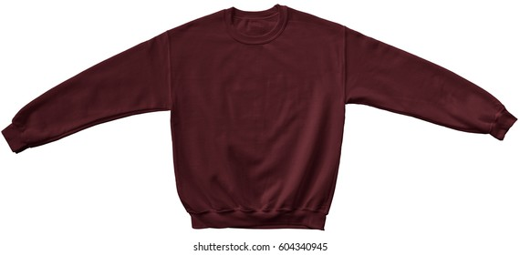 Blank sweatshirt maroon color mock up template front view on white background