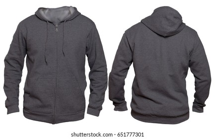 Blank sweatshirt mock up template, front, and back view, isolated on white, plain dark gray hoodie mockup. Hoody design presentation. Jumper for print. Blank clothes sweat shirt sweater
