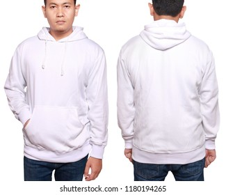 Blank sweatshirt mock up, front, and back view, isolated on white. Asian male model wear plain white long sleeved sweater shirt mockup. Sweat clothes t-shirt jumper design presentation for print